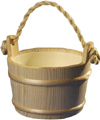 5991: Rustic wooden Sauna bucket with rope handle and plastic liner (1 gal.)
